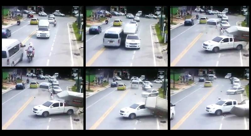 Водитель, протаранивший две машины на встречке, оштрафован на 500 бат