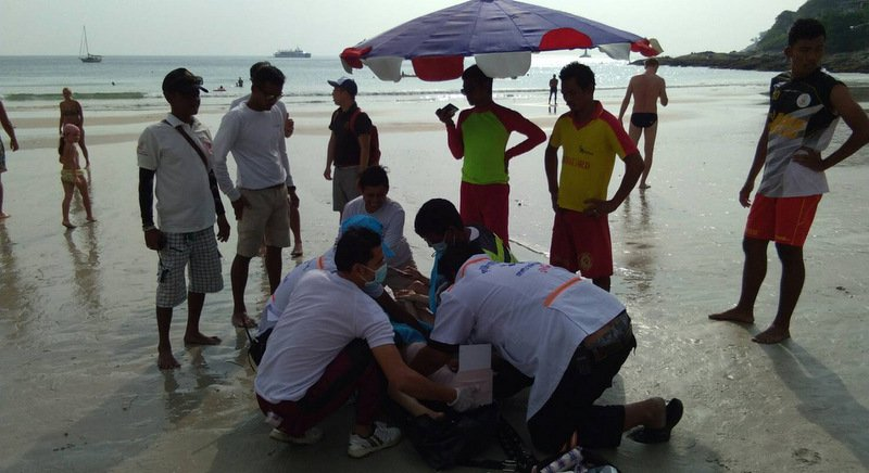 Гражданка Китая была госпитализирована с переломом, после того как аквабайк, на котором она находилась, столкнулся с другим водным мотоциклом у пляжа Най-Харн