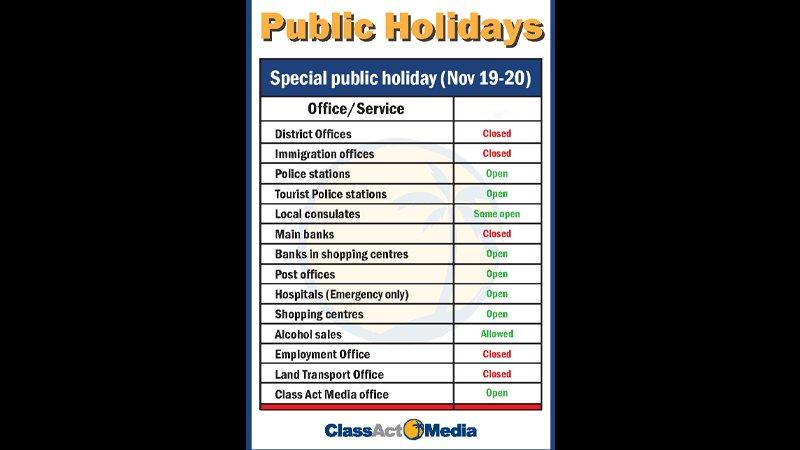 Государственные учреждения на Пхукете будут закрыты 19 и 20 ноября