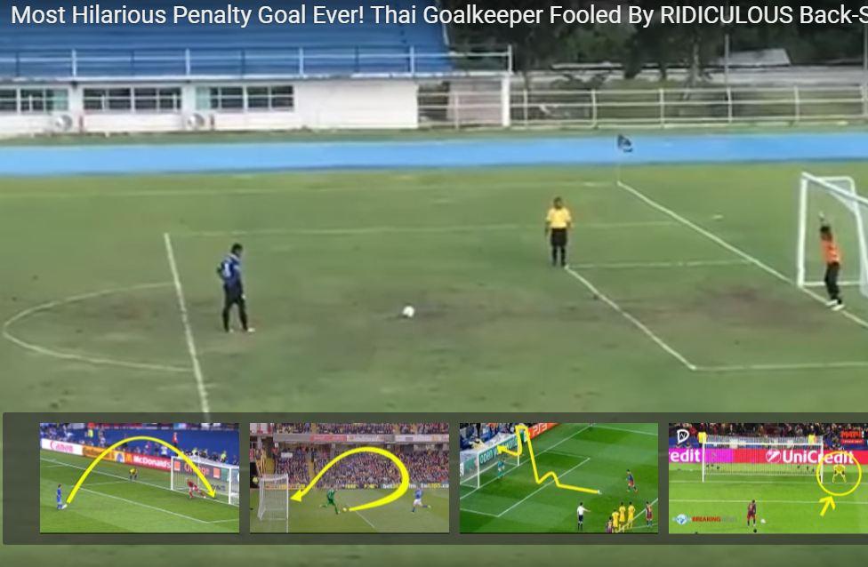 В Таиланде футболист забил самый невероятный пенальти в истории