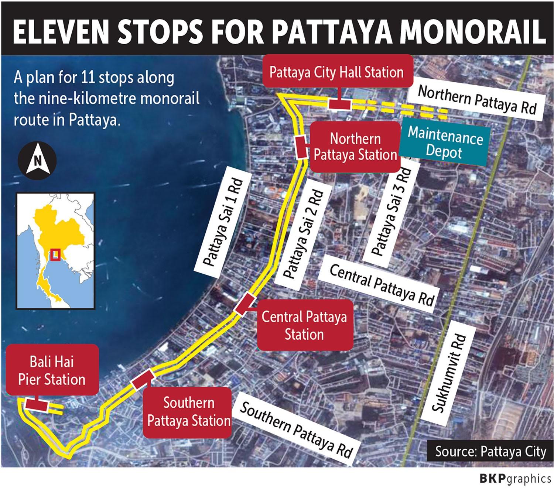 Город Паттайя представил планы строительства девятикилометровой монорельсовой дороги