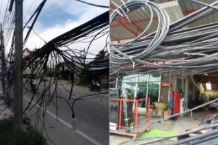 В Чонбури электрики обмотали проводами целый магазин