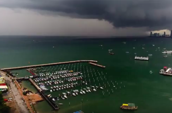Hyperlapse of a big storm brewing across Pattaya bay from the Pattaya sign. part 2