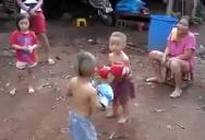 Two kids are having fun...