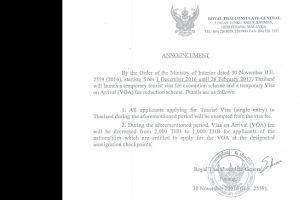 Таиланд отменил сбор за однократные туристические визы для всех стран
