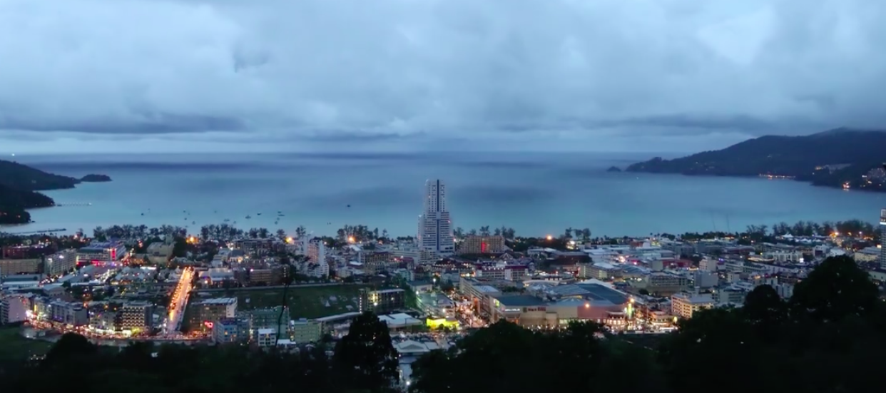 Night is coming to Patong after storm, Timlapse video.