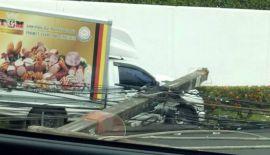 Пикап сбил несколько мачт электропередач в Кароне.  Водитель пикапа пытался избежать столкновения с подрезавшей его машиной, но не справился с управлением и врезался в столб